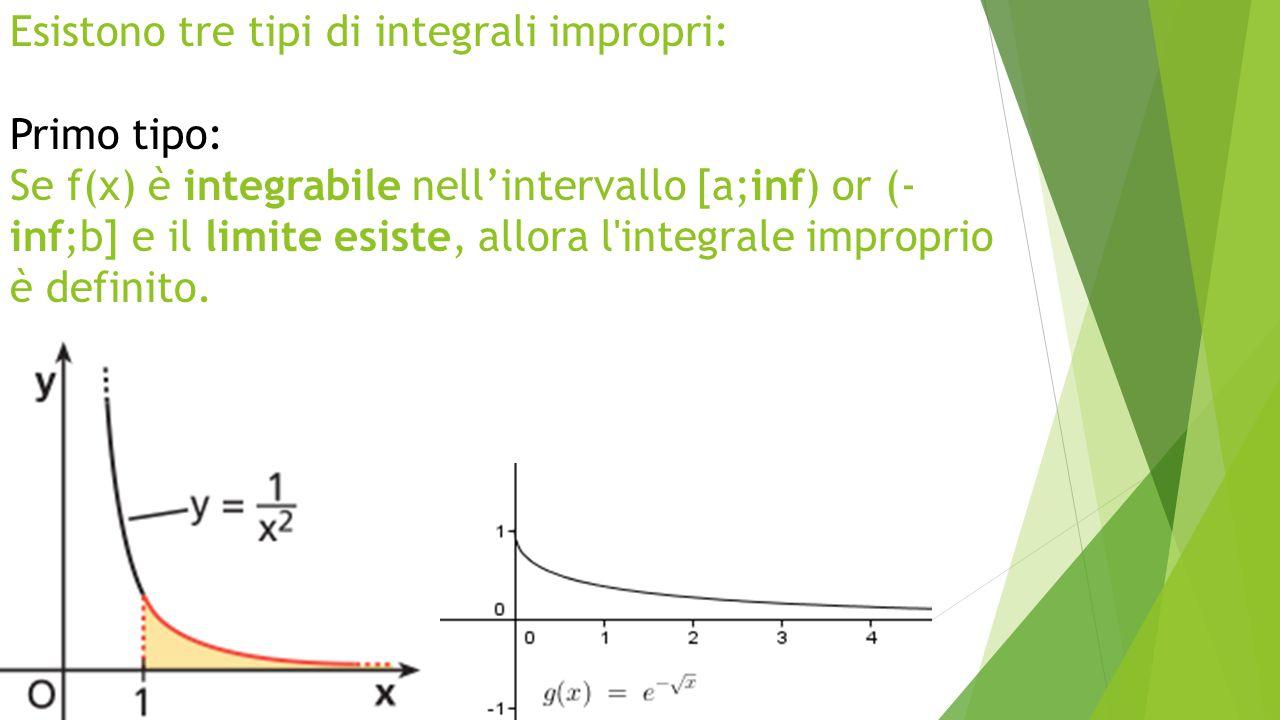 Esistono tre tipi di integrali impropri: Primo tipo: Se f(x) è integrabile nell'intervallo [a;inf) or (-inf;b] e il limite esiste, allora l integrale improprio è definito.
